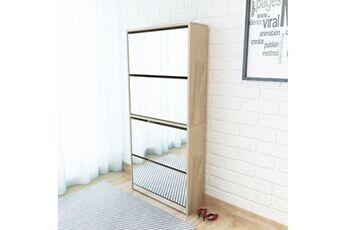 GENERIQUE Rangements pour armoires à vêtements ensemble katmandou meuble à chaussures 4 étagères avec miroir 63x17x134 cm chêne