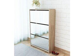 GENERIQUE Rangements pour armoires à vêtements reference douchanbé meuble à chaussures 3 étagères miroir 63 x 17 x 102,5 cm chêne
