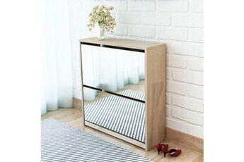 GENERIQUE Rangements pour armoires à vêtements gamme mbabane meuble à chaussures 2 étages avec miroir 63 x 17 x 67 cm chêne