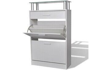 GENERIQUE Rangements pour armoires à vêtements ensemble kampala meuble à chaussures avec tiroir et plateau en verre bois blanc
