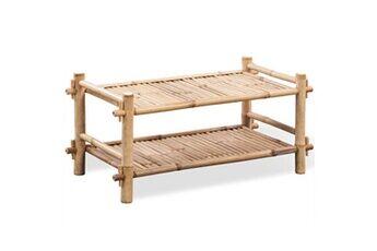 GENERIQUE Rangements pour armoires à vêtements ensemble roseau étagère à chaussures 2 niveaux bambou