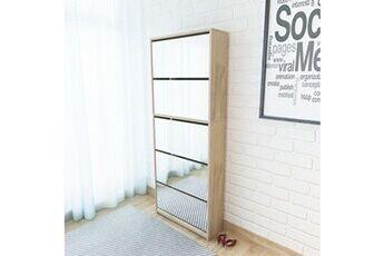 GENERIQUE Rangements pour armoires à vêtements gamme niamey meuble à chaussures 5 étagères et miroir 63x17x169,5 cm chêne