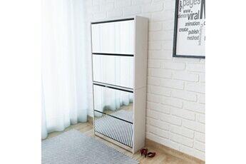 GENERIQUE Rangements pour armoires à vêtements serie managua meuble à chaussures 4 étagères et miroir 63x17x134 cm blanc