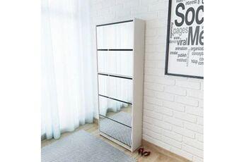 GENERIQUE Rangements pour armoires à vêtements ligne abuja meuble à chaussures 5 étagères et miroir 63x17x169,5 cm blanc