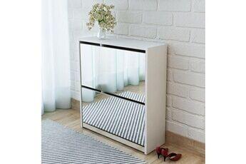 GENERIQUE Rangements pour armoires à vêtements ligne damas meuble à chaussures 2 étages avec miroir 63 x 17 x 67 cm blanc