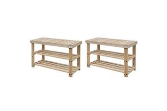 GENERIQUE Rangements pour armoires à vêtements selection gaborone étagère à chaussures 2 en 1 avec dessus banc 2 pcs bois massif