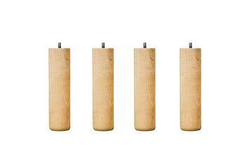 Promo Matelas 4 pieds de lit cylindriques 15 cm vernis naturel hêtre massif