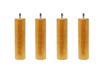 Promo Matelas 4 pieds de lit cylindriques 20 cm vernis naturel hêtre massif