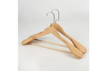 2pc cintres en bois d'épaule large de haute qualité - cintre de costume en bois massif