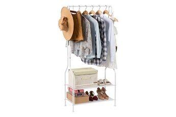 Langria portant a vetement metal avec rangement chaussures moderne minimaliste charge lourde avec simple barre tablette stockage inferieure pour boites, blanc