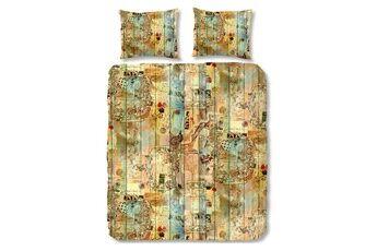 Good morning postcard housse de couette - 100% coton - grande taille (240x200/220 cm + 2 taies) - 2 pièces (60x70 cm) - multicolore