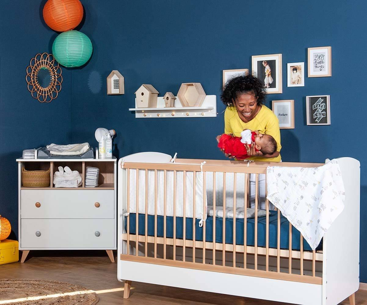 Ma Chambre d'Enfant Lit bébé évolutif Pepper  Blanc et bois 70x140 cm
