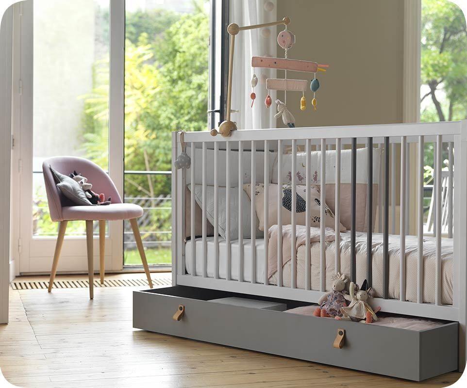 Ma Chambre d'Enfant Lit bébé Cocoon  Gris clair et gris foncé 70x140 cm/Opt:Sans kit évolutif