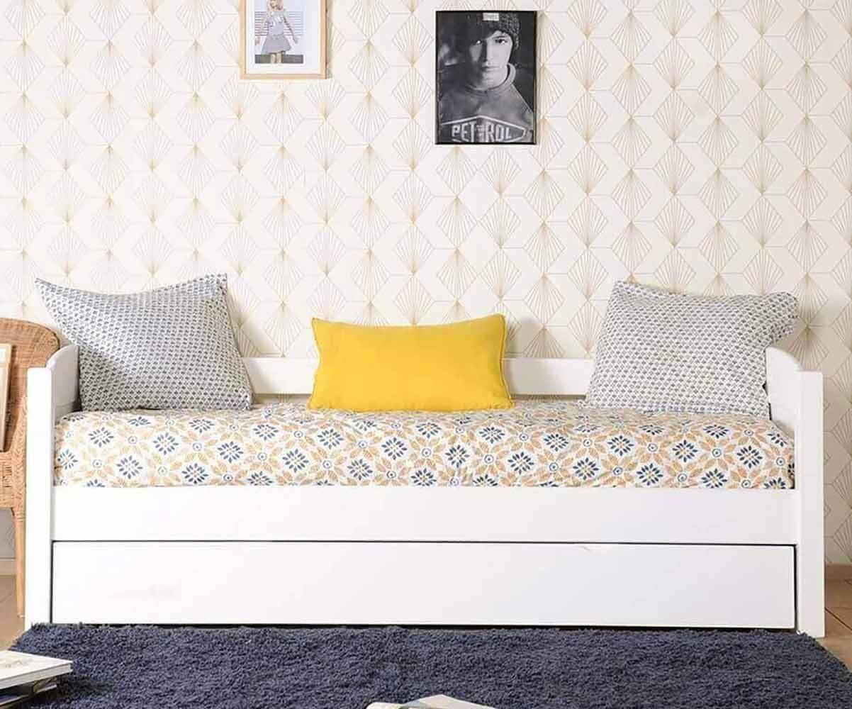 Ma Chambre d'Enfant Lit gigogne banquette enfant Alfin  Blanc 80x200 cm