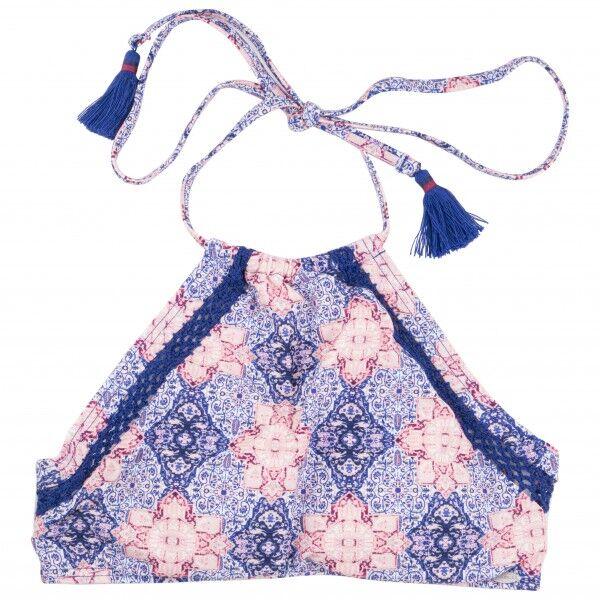 O'Neill - Women's Crochette Edge High Neck Top - Haut de maillot taille 32, gris/rose