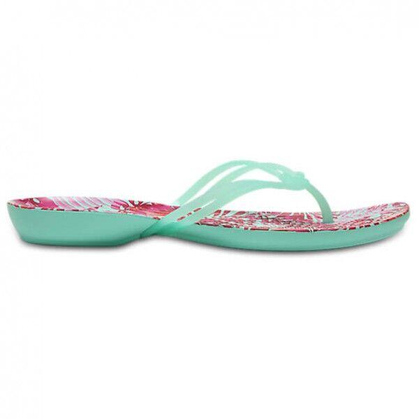 Crocs - Women's Isabella Graphic Flip - Sandales de marche taille W6, turquoise