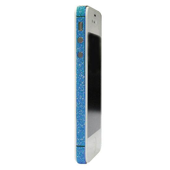 GadgetBay Skin iPhone 4 4s glitter Autocollants pour voiture Color Edge glamour - Bleu clair