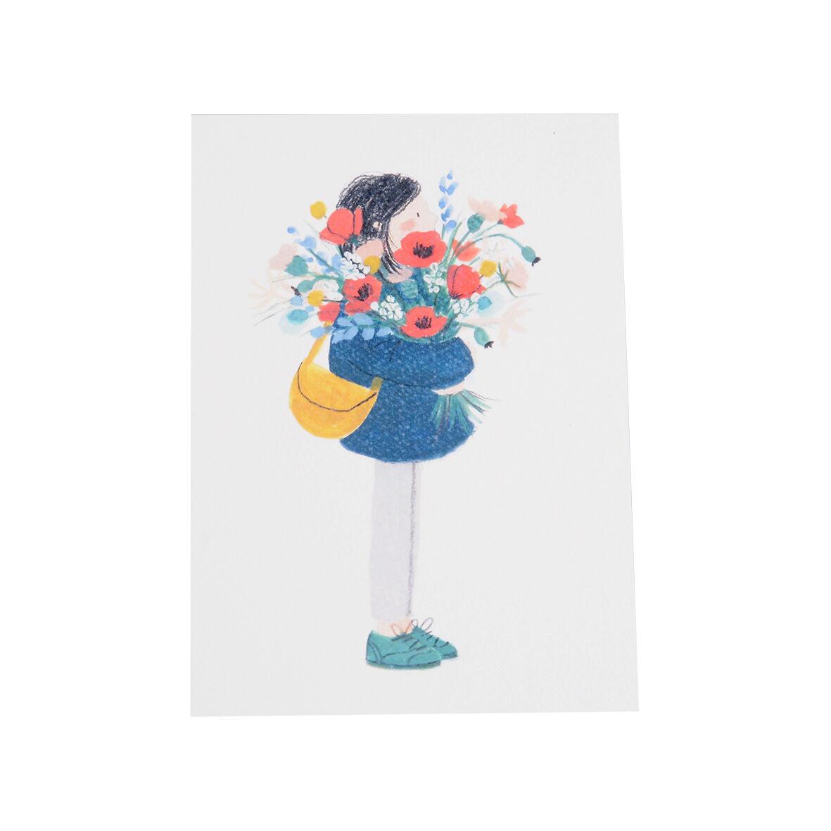 Dille&Kamille Carte, fillette avec bouquet de fleurs