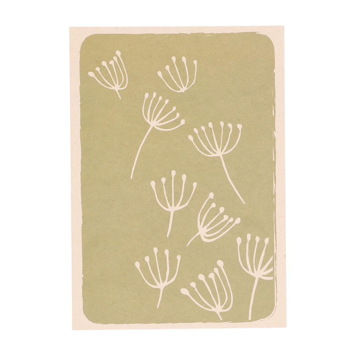 Dille&Kamille Carte, papier végétal, ombellifères sur fond vert