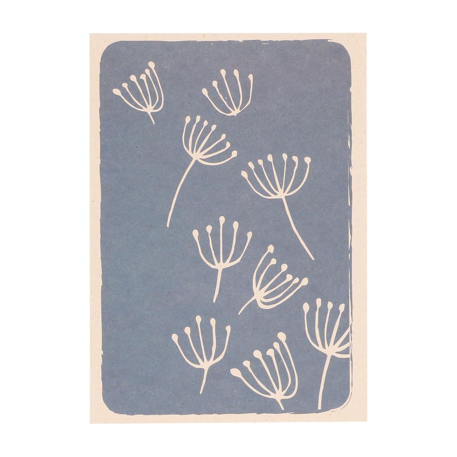 Dille&Kamille Carte, papier végétal, ombellifères sur fond bleu