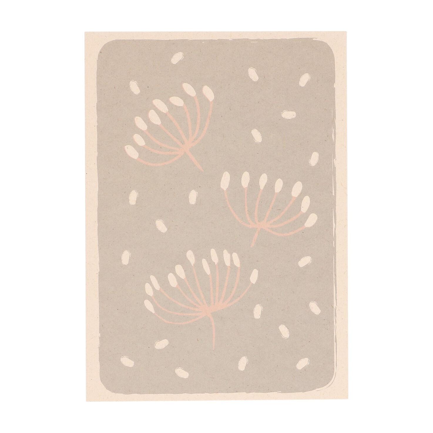 Dille&Kamille Carte, papier végétal, ombellifères sur fond gris