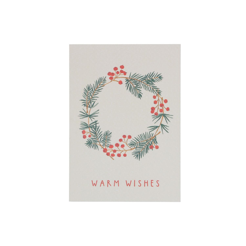 Dille&Kamille Carte de Noël, couronne à baies rouges