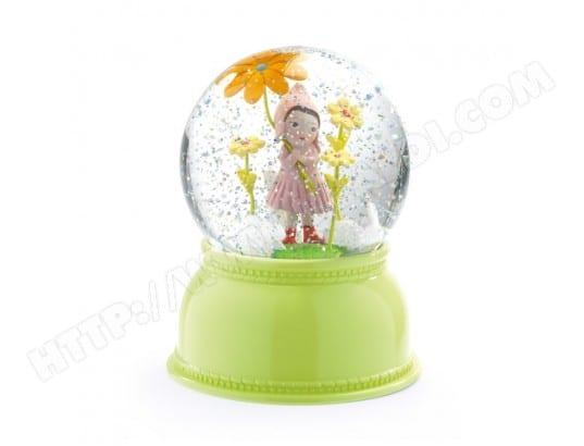 LITTLE BIG ROOM Lampe veilleuse boule neigeuse paillettes petite fille fleur vert D11xH14cm JADE vert vert