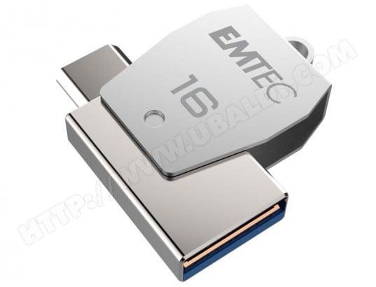 EMTEC Clé USB 16Go EMTEC 2en1 Dual micro-USB T250 chromée