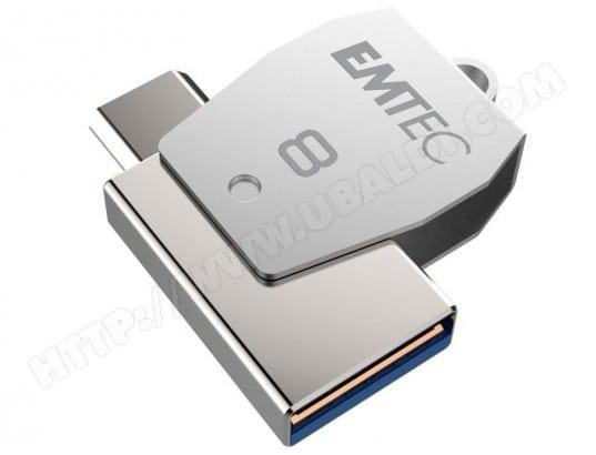 EMTEC Clé USB 8Go EMTEC 2en1 Dual micro-USB T250 chromée