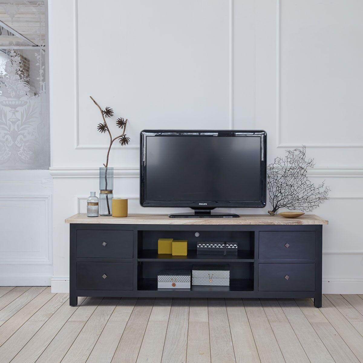 BOIS DESSUS BOIS DESSOUS Meuble TV en bois d'acajou et teck 4 tiroirs BOIS DESSUS BOIS DESSOUS