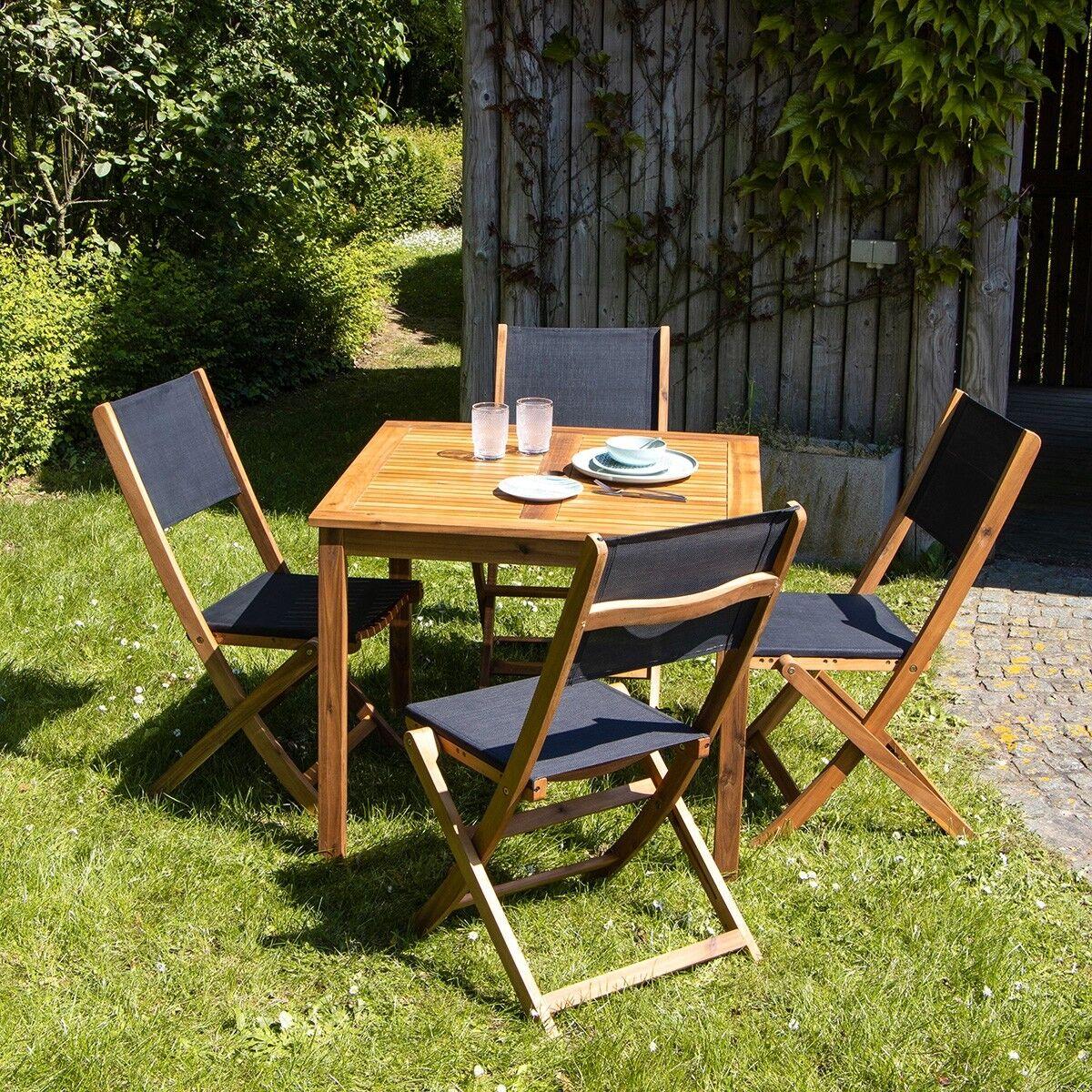 BOIS DESSUS BOIS DESSOUS Salon de jardin en bois d'acacia 4 places BOIS DESSUS BOIS DESSOUS