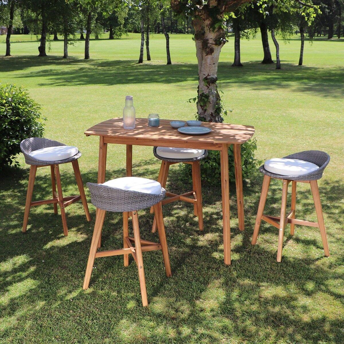 BOIS DESSUS BOIS DESSOUS Salon de jardin haut en bois d'acacia 4 places BOIS DESSUS BOIS DESSOUS
