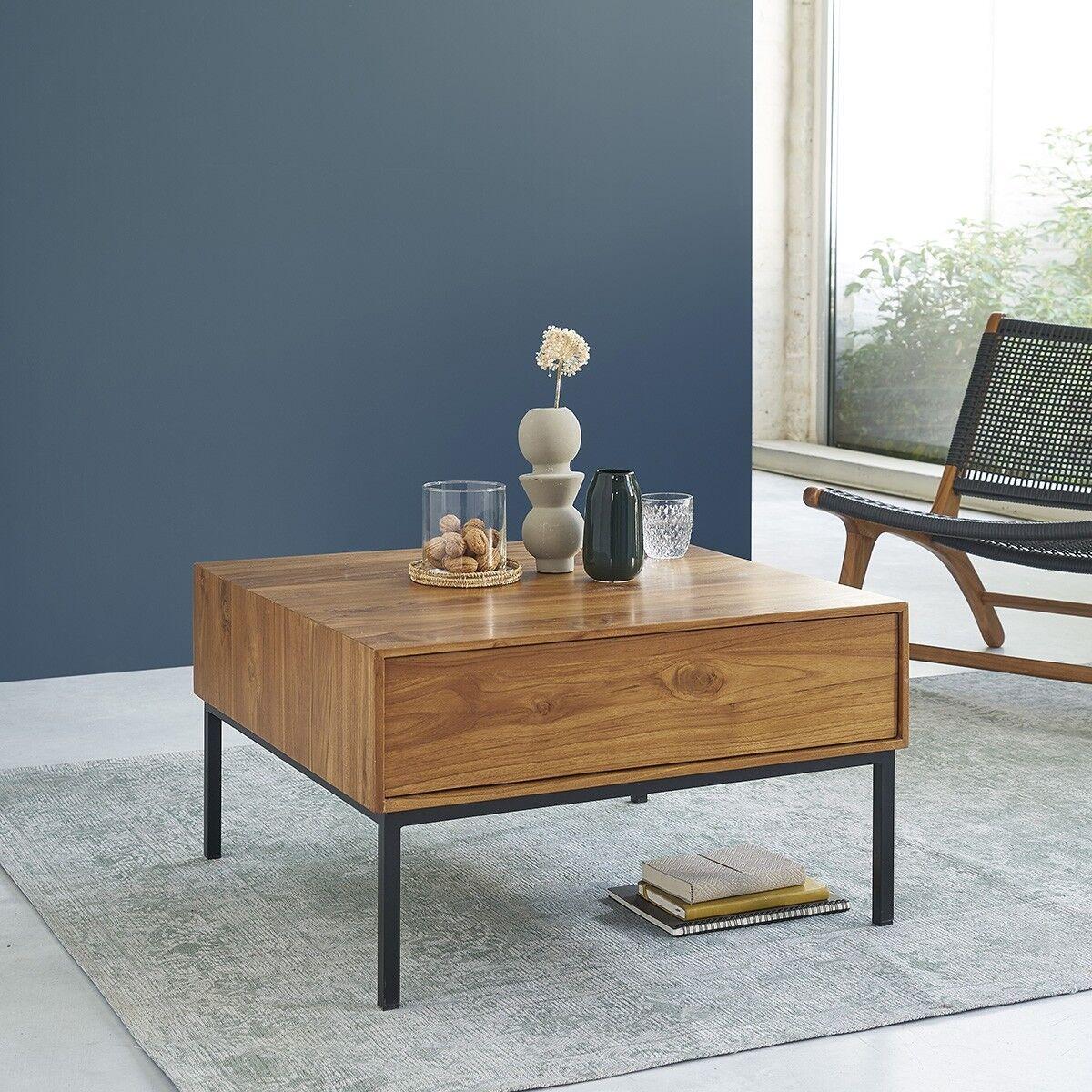 BOIS DESSUS BOIS DESSOUS Table basse en bois de teck et métal 2 tiroirs 70 BOIS DESSUS BOIS DESSOUS