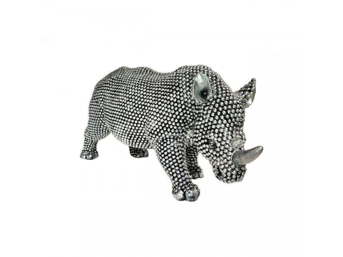 BOBOCHIC Statue RINO rhinocéros argenté