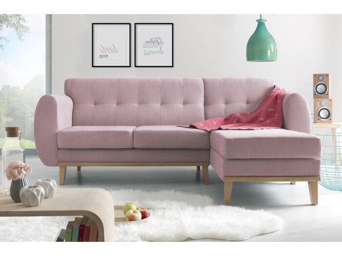 BOBOCHIC Canapé d'angle VIKING Rose Angle droit