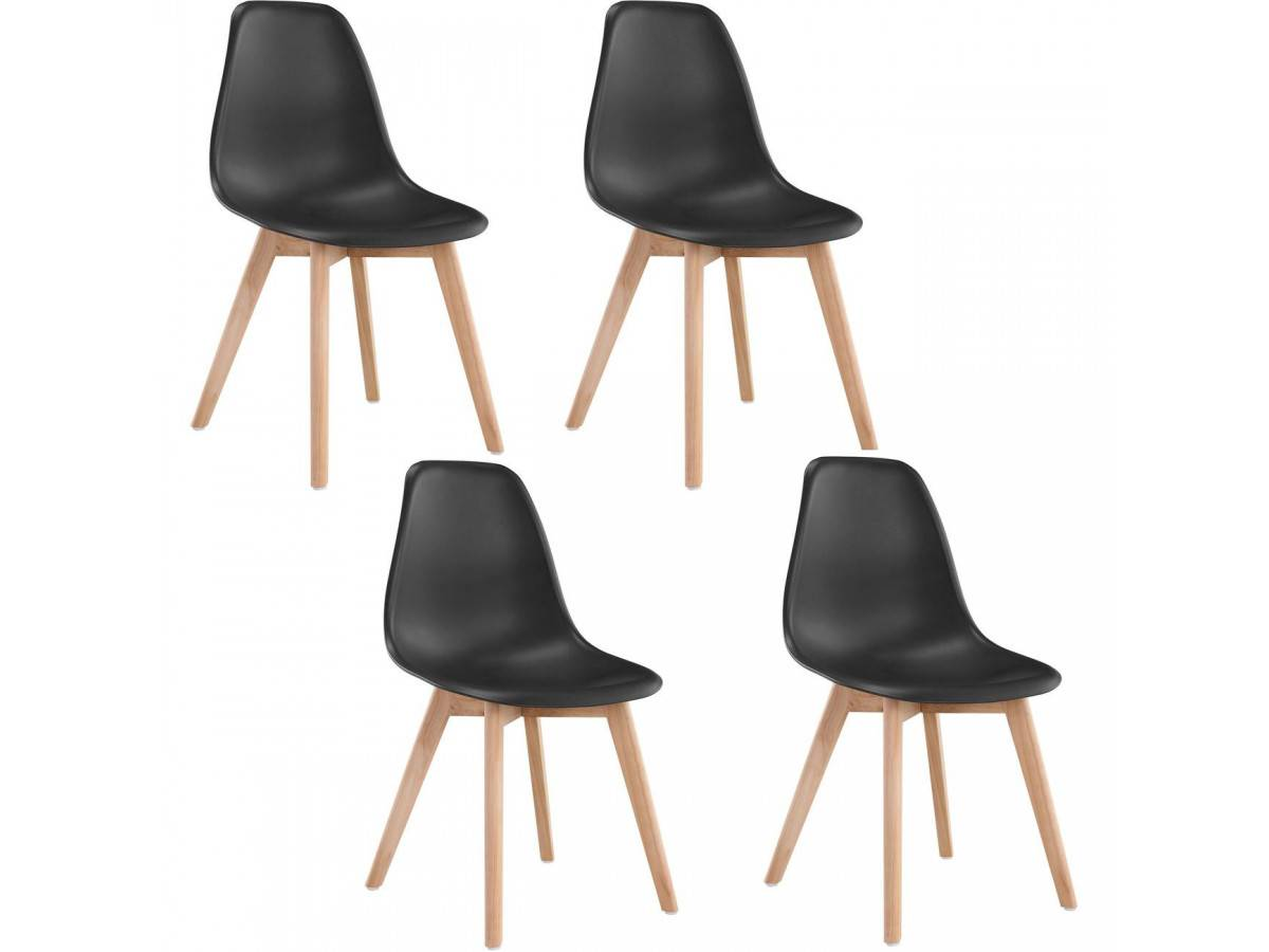 BOBOCHIC Lot de 4 chaises de table SACHA Noir