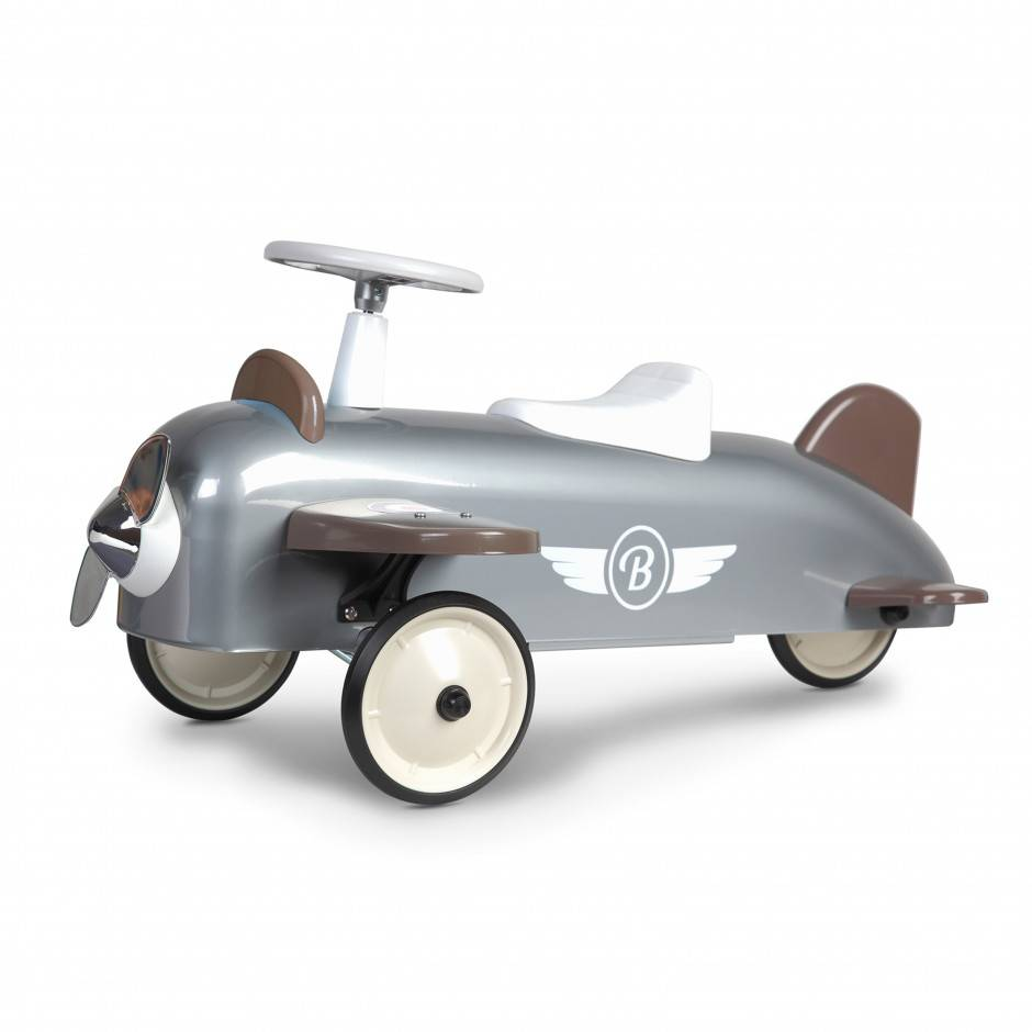 Baghera Porteur Speedster Avion vintage en métal GRIS Baghera