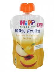 HiPP 100% Fruits Gourde Pommes Mirabelles Pêches dès 4/6 Mois Bio 90 g - Gourde 90 g