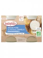 Babybio Brassé Poire Cannelle 6 Mois et + Bio 2 Pots de 130 g - Carton 2 pots de 130 g