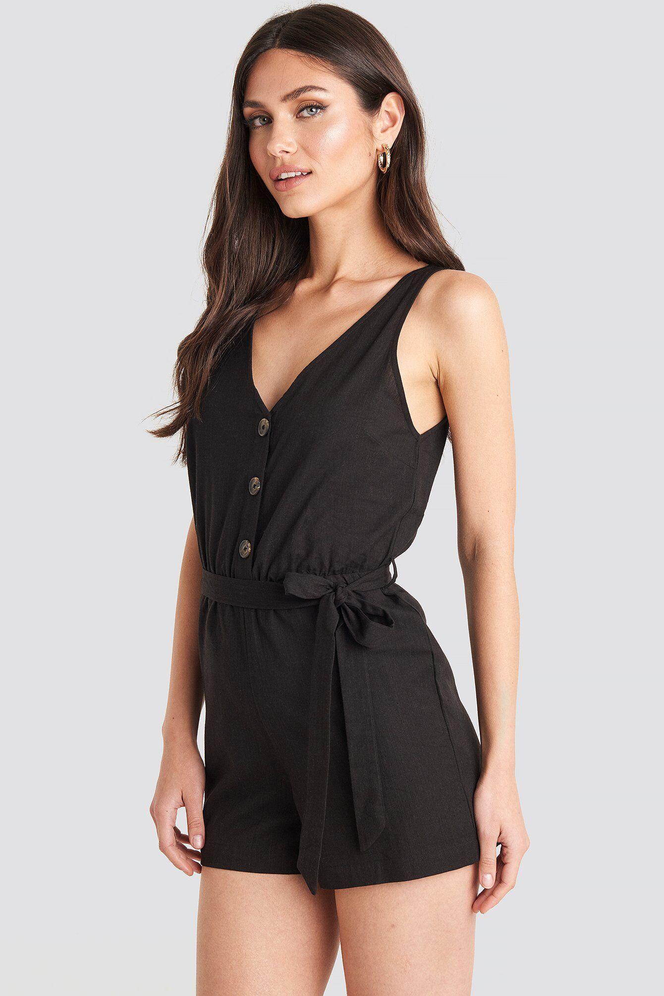 NA-KD Boho Button Front Tie Waist Playsuit - Black