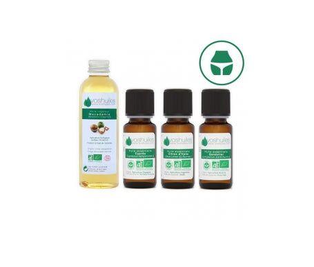Voshuiles Kit « Stop Cellulite » 3 Huiles Essentielles Bio & 1 Huile Végétale Bio