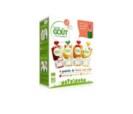 Good Gout Good Goût Mon Kit Premiers Fruits 4 gourde de Fruits dès 4 mois BIO + une Cuillère Baby'clips