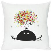 Domestic Coussin Spring wishes / 40 x 40 cm - Domestic blanc,multicolore,noir en tissu