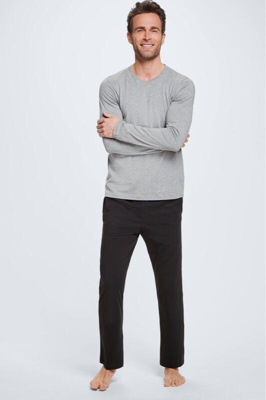 Strellson Pyjama avec t-shirt à manches longues et pantalon, gris clair/noir taille: L