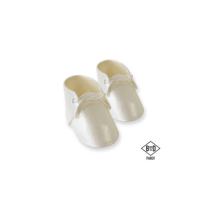 Figurine sucre Chaussons blanc nacré