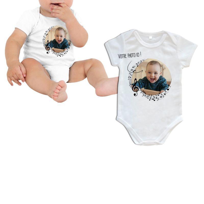 Themadeco Body bébé personnalisé décor musique