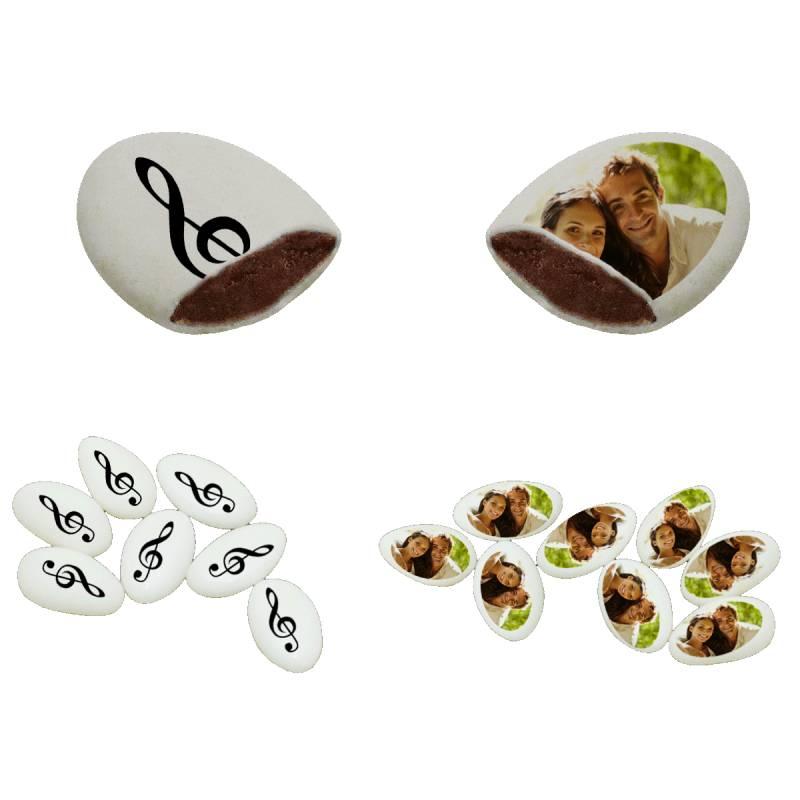Themadeco 110 Dragées chocolat personnalisés décor musique photo