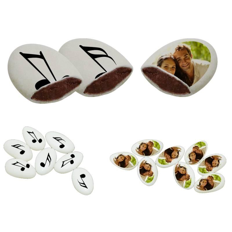 Themadeco 110 Dragées chocolat à personnaliser décor Note de musique photo