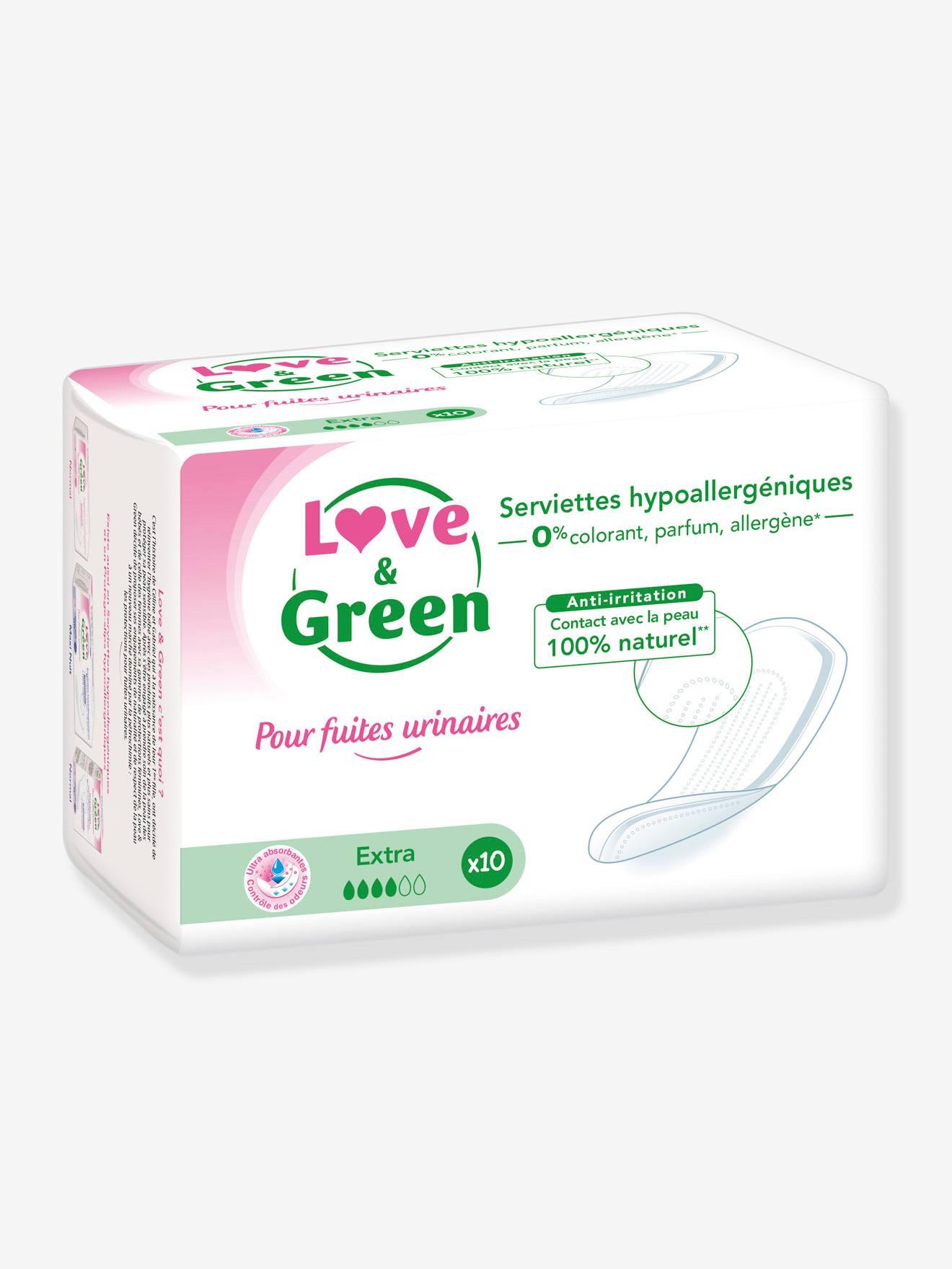 Loveandgreen Serviettes hygiéniques hypoallergéniques LOVE&GREEN Extra x10 pour fuites urinaires blanc