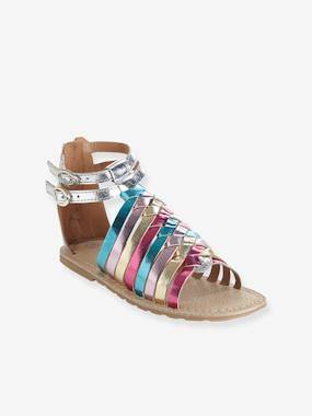 Vertbaudet Sandales fille en cuir argent/multicolore